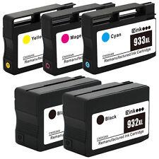 5P HP 932XL 933XL Black & Color Ink Set for OfficeJet 6100 7100 7510 7612 & More