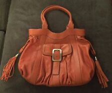 Cole Hahn Leather Orange Handbag Purse with Silver Hardware & Dust Cover NWT