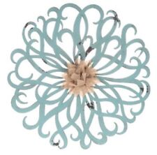 HOME DECOR  French Blue & Burlap Flower Metal Wall Decor New 12 Inches
