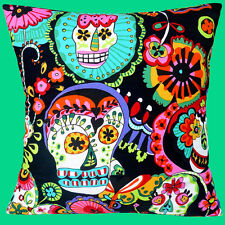 "NEW MEXICAN FOLKLORE SKULLS HEART FLOWERS BLACK MULTI 16"" Pillow Cushion Cover"