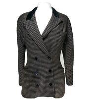 Vintage Escada Wool Houndstooth Velvet Peak Lapel Dbl Breasted Blazer Size M