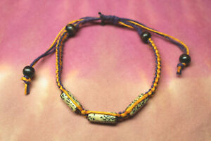 Hemp Bracelet ADJUSTABLE Purple & Gold HANDMADE IN USA
