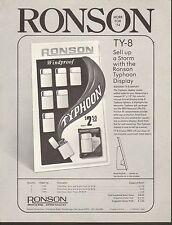 VINTAGE AD SHEET #1869 - RONSON WINDPROOF TYPHOON DISPLAY