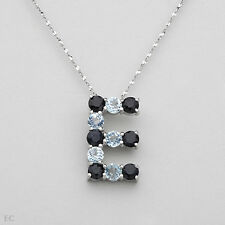 Sapphire &Topaz in 925 Sterling silver Initial E Necklace With 3.05ctw Genuine
