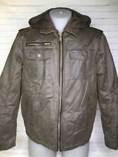 Guess Distressed Brown Faux Leather Hooded Layer Full Zip Jacket Coat Mens Large