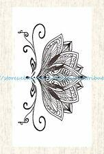 US SELLER, fake tatto black lace lotus flower temporary tattoo