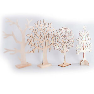 Wooden Jewellery Stand Tree Display Organiser /Earring Necklace Holder Craft Cut