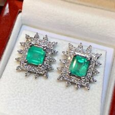 COLOMBIAN 3.42TCW Emerald VS Diamonds 18K white gold Natural earrings stud Neon