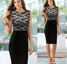 Women Celeb Sleeveless Lace Slim Bodycon Cocktail Party Evening Pencil Dress NEW