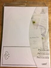 Platinum Hearts on White Paper Tri-fold Wedding Programs 50ct Gartner(61301)NEW