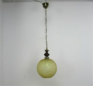 Bubbled Amber Glass Chandelier Pendant Vintage Retro Helena Tynell Style
