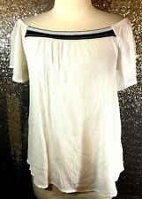 NWT Ambiance Size Medium M Ivory Embroidered Off-Shoulder Top Shirt Blouse Fall