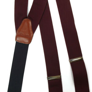 BROOKS BROTHERS Solid Rich Red Burgundy Adjustable Gentlemans Braces Suspenders