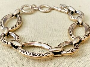 """Brighton Silver Tone Etched Oval Metal Link Bracelet 7.5"""" to 8 1/4"""""""