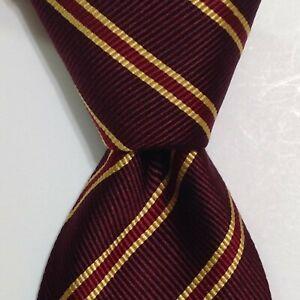 LUCIANO BARBERA Men's Silk/Cotton Necktie ITALY Designer STRIPED Red/Yellow EUC