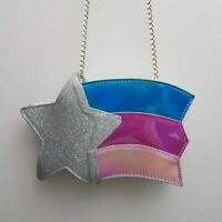 Cappelli Girls Purse Pink Blue Rainbow Star Silver Chains Glitter Crossbody NWT