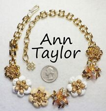 Flower Necklace, Tan/White Enamel/Rs, Gp Fabulous Signed Ann Taylor Assorted 3D