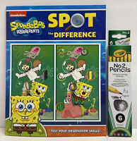 New! 2pc SpongeBob SquarePants Gift Set Spot The Difference Book & 6 Pencils