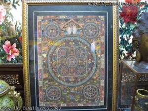 Tibet Buddhism Fane Handkwork made silk Model Of Mandala Buddha statue TangKa