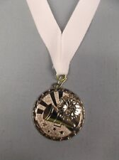 silver Cheerleading medal award with white neck drape