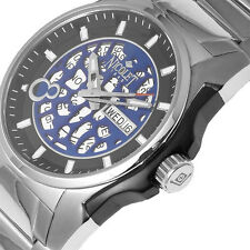 Nicolet Men's Watch Swiss Automatic SS With Blue Black Face NEW $1750