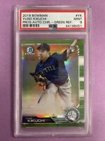 2019 Bowman Chrome Yusei Kikuchi RC Rookie Green Refractor Auto /99 PSA 9 MINT