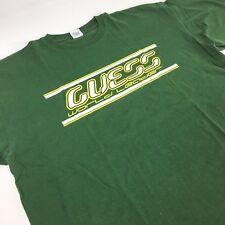 GUESS VTG Men's Green T-shirt World Leader XL 100% Cotton