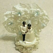 Vintage African American Bride & Groom Wedding Cake Topper Circa 1970's, Black