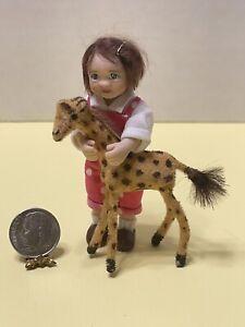 Vintage German Handmade Flocked Giraffe Toy Dollhouse Miniature 1:12