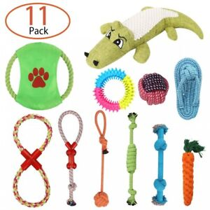 11PCS DOG PUPPY PET TOYS KIT ROPE BUNDLE TEETH CHEW KNOT BALL COTTON ROPE