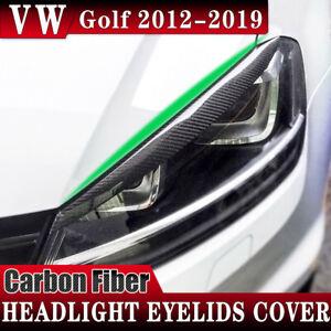 For Volkswagen Golf 2012-2019 Carbon Fiber Headlight Eyelids Cover Eye Brow Trim