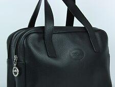 Longchamp Bag, Handtasche, Damen, Schwarz, Doppelfach, 2 Zipp, Leder, Gebraucht