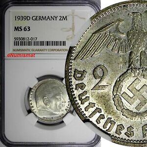 GERMANY-Third Reich Silver 1939 D 2 ReichsMark NGC MS63 Hindenburg KM# 93 (017)
