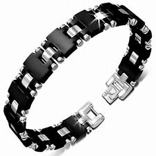 Bracelet With Link Panther Stainless Steel With Rubber Black 341