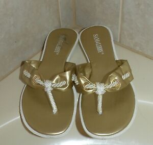 Sam & Libby Women's Gold Metallic Thong Flip Flop Sandals Size 7 EUC