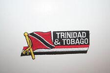 "TRINIDAD & TOBAGO SIDEKICK WORD COUNTRY FL. IRON-ON PATCH CREST BADGE 1.5""X4.5"""