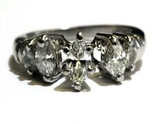 GIA certified Platinum 1.04ct marquise diamond engagement ring 6g estate vintage