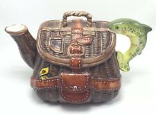 Fib Hand Painted Fisherman's Tackle Basket Ceramic Gone Fly Fishing Gear Teapot