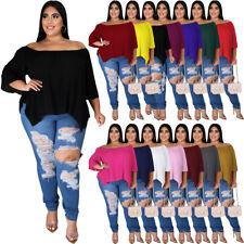 Womens Plus Size Tops Off Shoulder Large T Shirt Casual Irregular Clothing Big