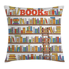 Colorful Throw Pillow Case Library Ladder School Square Cushion Cover 18 Inches
