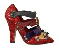 Dolce & Gabbana Shoes Women's Red Sequined Crystal Studs Heels EU36/US5.5