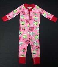 Hanna Andersson size 70 pink Christmas baby sleeper pajamas red green owls