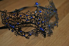 Venetian Black Metal Mask Filigree Masquerade Blue Diamante Ball. Prom/Ball. UK