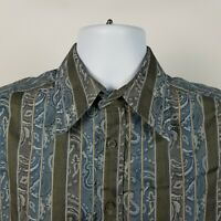 Robert Graham Mens Blue Green Gray Paisley Striped Dress Button Shirt Sz Medium