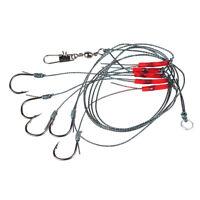 10pc Fishing Swivel String Hook Steel Anti-Winding Rig Wire Leader Hook Line CHK