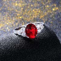 925 Silver 8 * 10 MM Oval Cut Mystic Gemstone Gem Birthstone Ring Jewelry 5-12