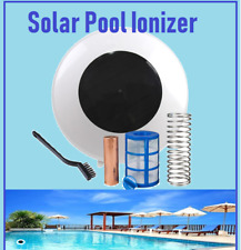 Solar energy swimming pool ionizer generate ions to reduce greenhouse emissions