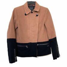 Maison Scotch & Soda Coat Jacket Wool Mix Black Pink Colour blocked Sz 2 Uk 10