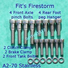 Honda VTR1000F Firestorm Stainless A2-70 Allen Bolts front Axle, Rear hanger ECT