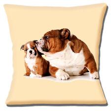 """British Bulldog & Cute Puppy Cushion Cover 16""""x16"""" 40cm 'Kiss From Mum' on Cream"""